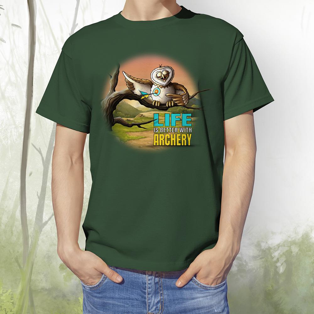 T-Shirt Eule1 bottle green