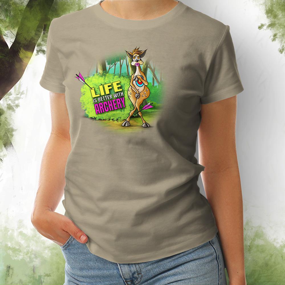 T-Shirt Damen Bambi khaki