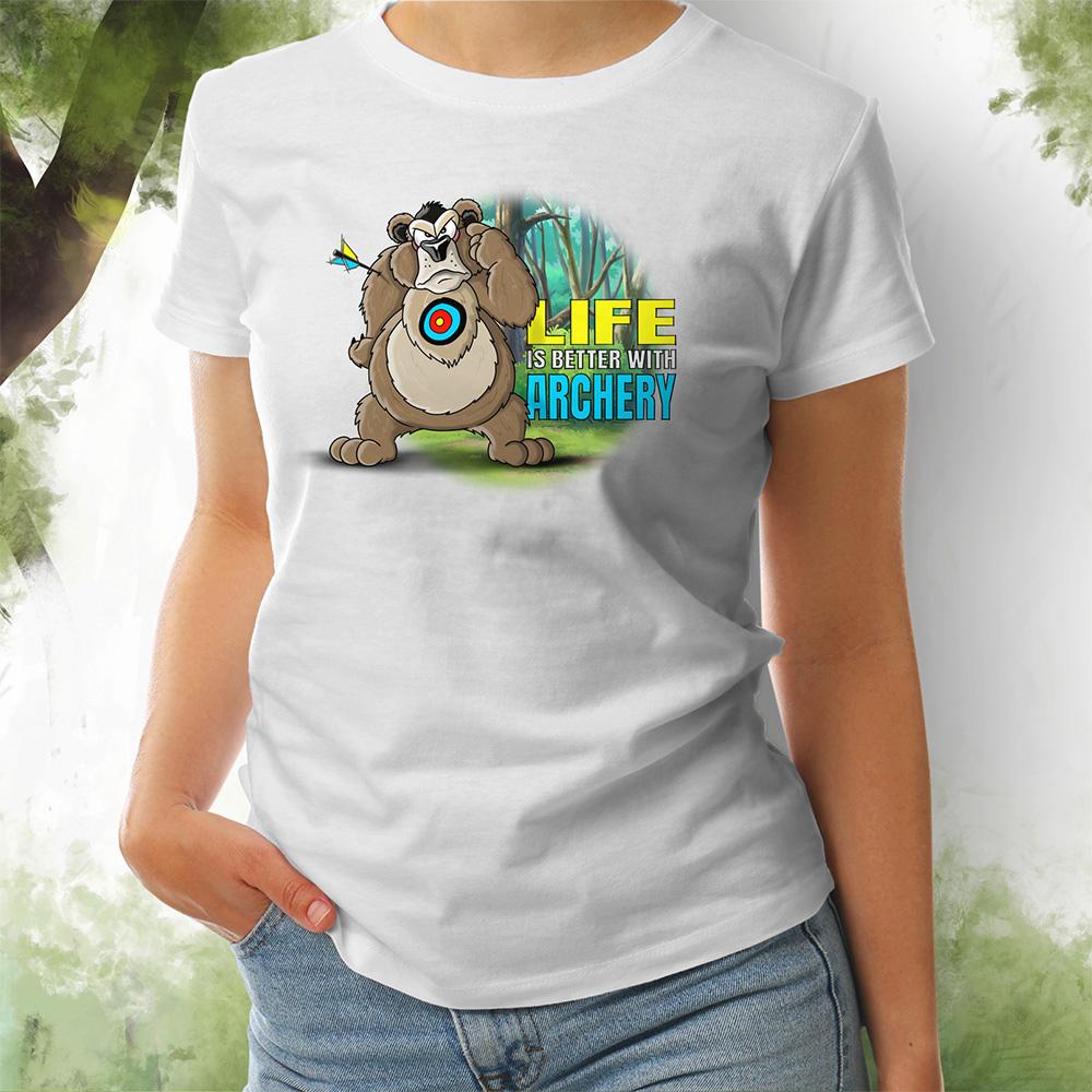 T-Shirt Damen Bär 2 weiss