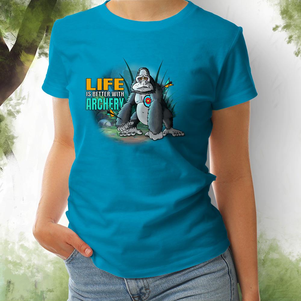 T-Shirt Damen Gorilla 2 aqua