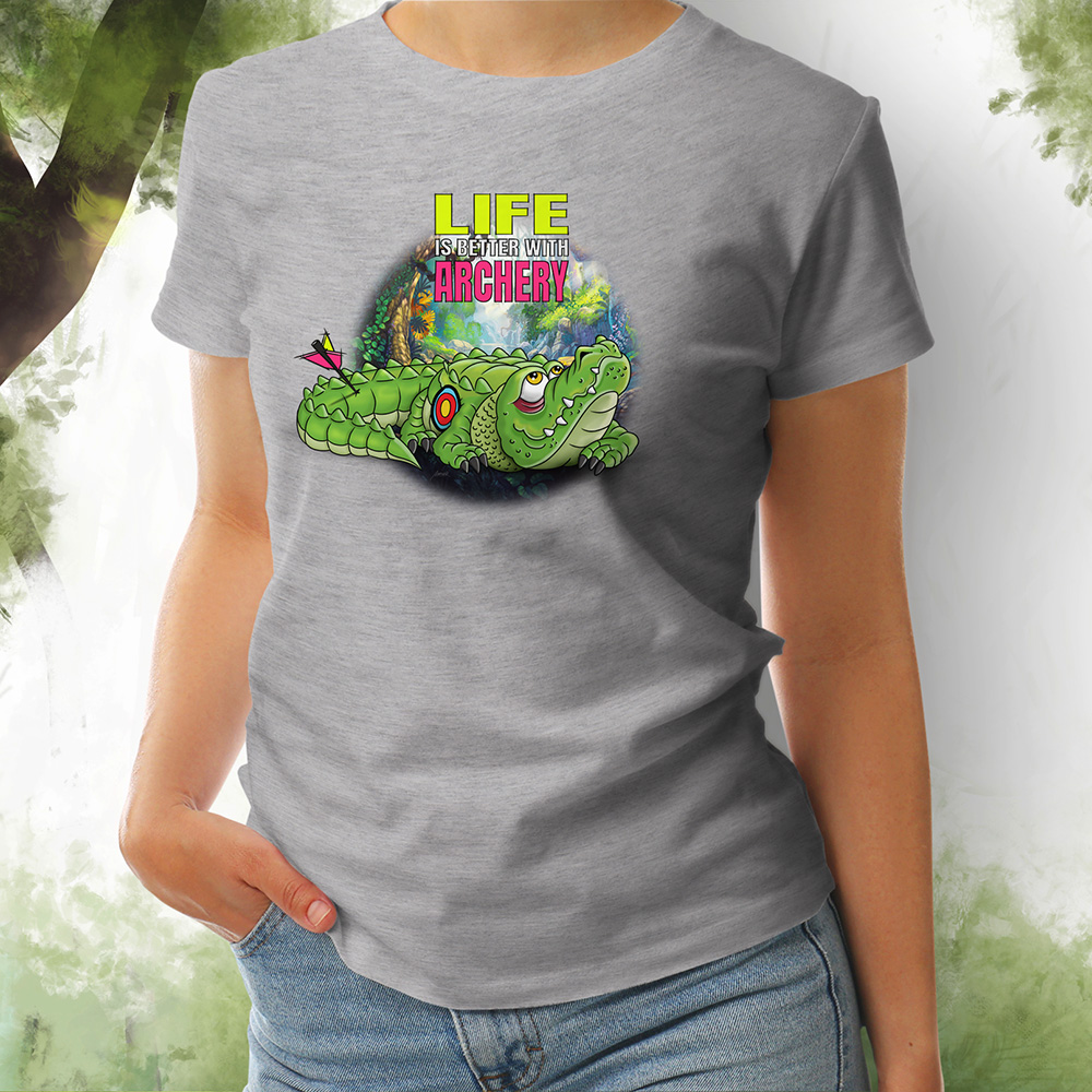 T-Shirt Damen Kroko 2 grey melange